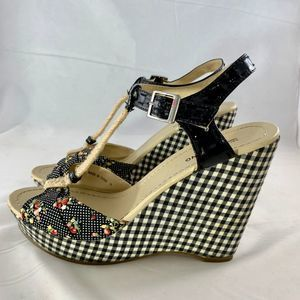 Call It Spring Retro T-Strap Wedge Sandals SZ 9